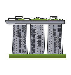 hotel composed of three skyscrapers and ship vector image