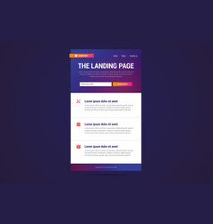 landing page design in modern gradient style vector image vector image