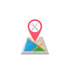 restaurant map pointer flat icon mobile gps vector image vector image