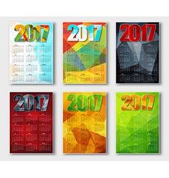 Set polygonal calendar 2017 vector image