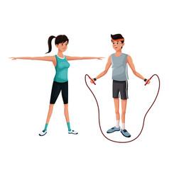 couple gym sport athlete image vector image