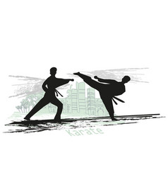 creative abstract of karate fighters vector image