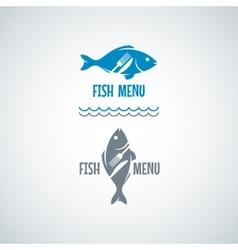 Fish Food Logo Fork And Knife Background vector image