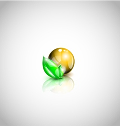 Isolated oil droplet with leaves vector image