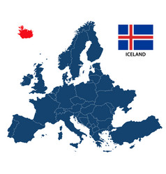 map of europe with highlighted iceland vector image vector image