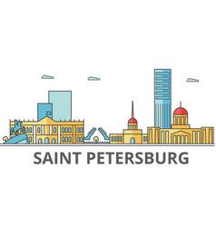 saint petersburg city skyline buildings streets vector image