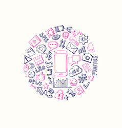 social media hand drawn elements circle vector image