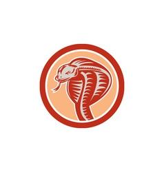 Cobra Viper Snake Head Circle Retro vector image