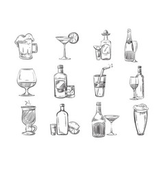 doodle sketch cocktails and alcohol drinks in vector image