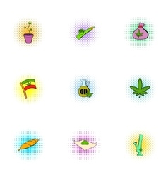 Drug icons set pop-art style vector image vector image