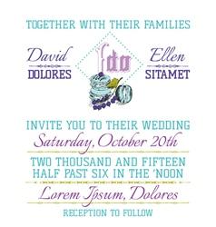 Wedding Invitation Card - Macaroon Theme vector image