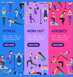 cartoon people workout exercise in gym banner vector image vector image
