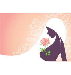 girl and rose vector image