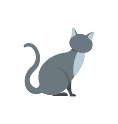 Gray cat icon in flat style vector image