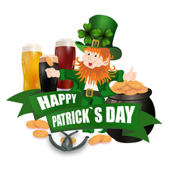 leprechaun in a green hat three kinds of beer vector image vector image