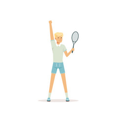 young tennis player standing with racket in hand vector image vector image