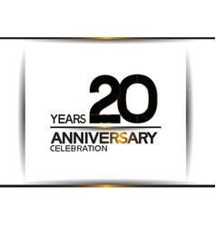 20 years anniversary black color simple design vector