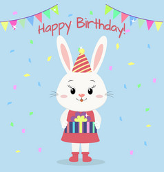 a white rabbit in a dress and a hood stands and vector image