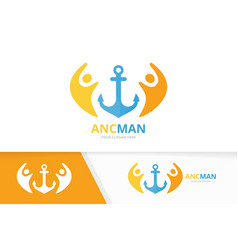 anchor and people logo combination marine vector image
