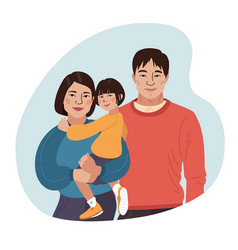 Asian smiling family portrait chinese mother vector