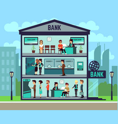 Bank building with people and bank employees in vector