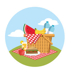 Basket with water bottles and food in the vector