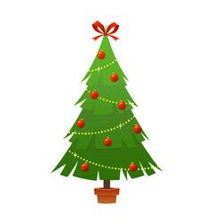 beautiful elegant green christmas tree bright vector image