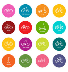 Bicycle types icons set colorful circles vector