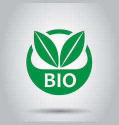 bio label badge icon in flat style eco organic vector image