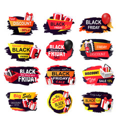 black friday isolated banners design sellout vector image
