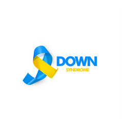 Blue and yellow ribbon with text for world down vector