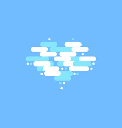 blue sky with white clouds in the shape of a heart vector image