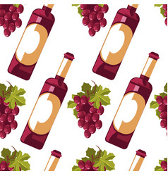 bottle wine and grapes seamless pattern vector image