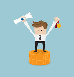 businessman success with gold medal on coins stack vector image