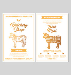butchery shop poster with cow meat cutting charts vector image