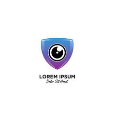 Camera shield security logo icon vector