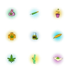 Cannabis icons set pop-art style vector image