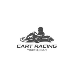 Cart racing silhouette vector