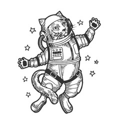 cartoon cat astronaut sketch engraving vector image