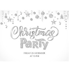Christmas party poster template silver on white vector