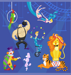 Circus card with acrobat on bicycle clown lion vector