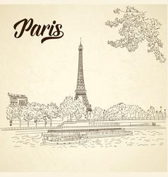 city sketching on vintage background paris vector image