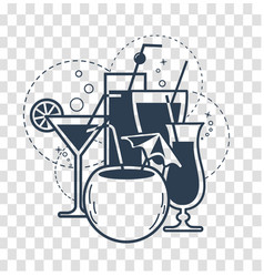 cocktail drinks linear style vector image