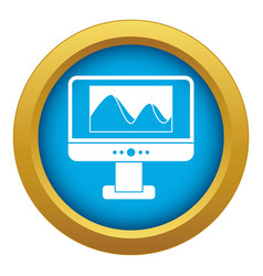 Computer monitor with photo on screen icon blue vector