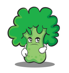 confused broccoli chracter cartoon style vector image