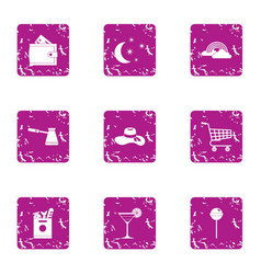 Convenience store icons set grunge style vector