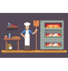 Cook baker cooking bread icon on bakery background vector