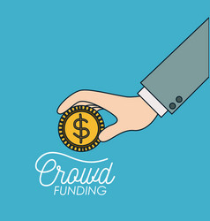 Crowd funding poster of hand with coin in blue vector