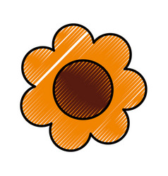 Cute sunflower drawing icon vector