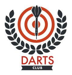 Darts club banner with bullseye and laurel leaf vector